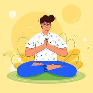 Vector de hombre meditando.